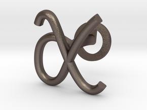 Cursive X Cufflink in Polished Bronzed Silver Steel