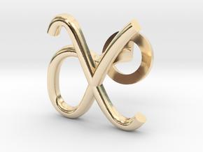 Cursive X Cufflink in 14K Yellow Gold