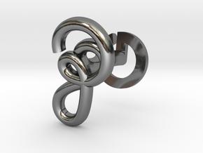 Cursive Z Cufflink in Fine Detail Polished Silver