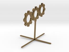 Sprocket_Sculpture 8cm tall in Natural Bronze