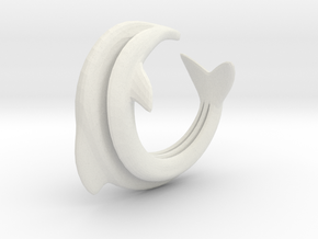Dolphin Abstract Ring, size 5. Smooth Elegance. in White Natural Versatile Plastic