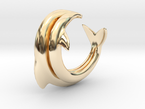 Dolphin Abstract Ring, size 5. Smooth Elegance. in 14K Yellow Gold