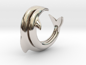 Dolphin Abstract Ring, size 5. Smooth Elegance. in Rhodium Plated Brass