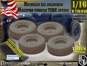 1/16 MaxxPro Mich XZL 395-85R20 Tire Set002 in White Natural Versatile Plastic
