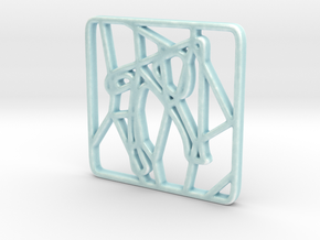 Personalised Voronoi Square Trivet - Porcelain in Gloss Celadon Green Porcelain