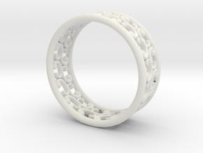 """Bracelet """"Rotate"""" in White Natural Versatile Plastic: Medium"""