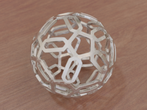 Pentagon Pattern Sphere in White Natural Versatile Plastic: Medium