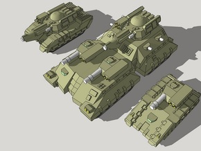 3mm Team Kukri Superheavy Tanks (2pcs) in Smooth Fine Detail Plastic