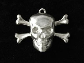 skull and bones pendant in Polished Bronzed Silver Steel