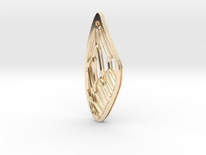 Cicada Wing Pendant - Outside in 14K Yellow Gold