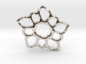 Delicate Filigree Flower Pendant in Rhodium Plated Brass