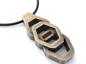 Vertical Industrial Hex Nut Slide Pendant  in Stainless Steel