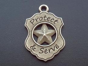 Police Badge Pet Tag / Pendant / Key Fob in Polished Bronzed Silver Steel