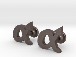 alpha cufflinks in Polished Bronzed Silver Steel