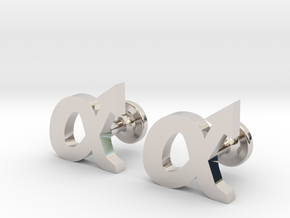 alpha cufflinks in Rhodium Plated Brass