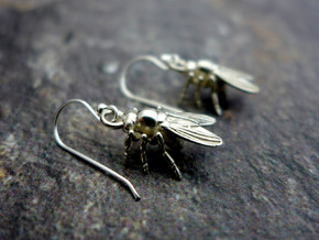 Drosophila Fruit Fly Earrings - Science Jewelry in Natural Silver