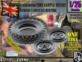 1/25 Land Ro XCL 750x16 Tire and Wh Sample Set102 in Smooth Fine Detail Plastic