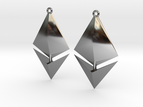 Ethereum Earring Pendants in Fine Detail Polished Silver