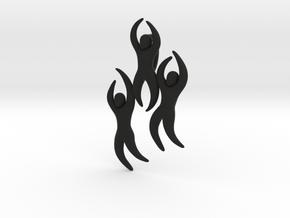Dan Eldon's 'Dancing Figures' Pendant  in Black Natural Versatile Plastic