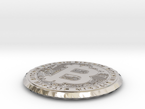 Bitcoin Coin / Coaster ( double sided ) in Platinum: Extra Small