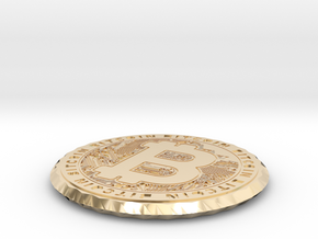 Bitcoin Coin / Coaster ( double sided ) in 14k Gold Plated Brass: Extra Small