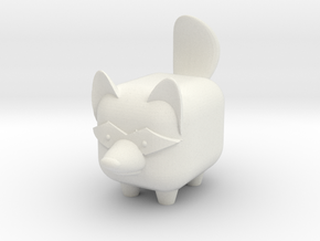 MINI-MALS! - Raffi-Raccoon in White Natural Versatile Plastic