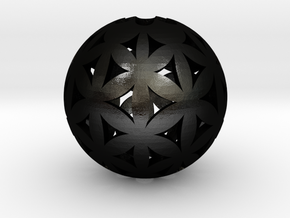 Flower of life bead sphere  in Matte Black Steel