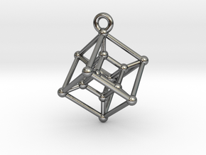 Hypercube Pendant in Polished Silver