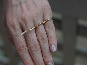 Twig Double Ring in Natural Brass