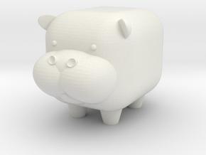 MINI-MALS! - Hippo-Moe in White Natural Versatile Plastic