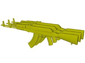 1/12 scale Avtomat Kalashnikova AK-47 rifles x 3 in Smooth Fine Detail Plastic