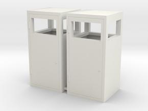 1:24th scale trash bins in White Natural Versatile Plastic