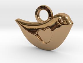 Lovebird Pendant in Polished Brass