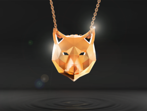 Low Poly Wolf Pendant in Polished Gold Steel