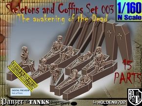 1/160 Skeleton+Coffins Set003 in Smooth Fine Detail Plastic