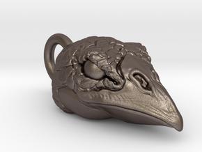 Bird Head Pendant in Polished Bronzed Silver Steel
