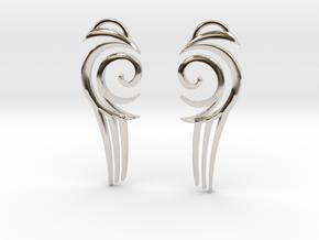 "Tribal ""Water spirit"" Earrings in Rhodium Plated Brass"
