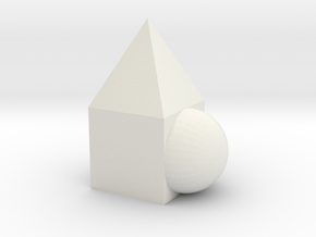 Triangle + square + round as one in White Natural Versatile Plastic