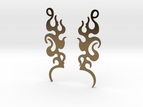 "Tribal ""Dancing Flames"" Earrings in Polished Bronze"