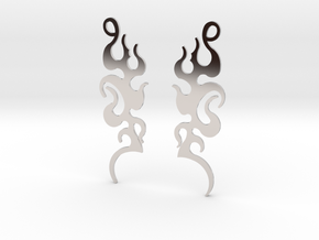 "Tribal ""Dancing Flames"" Earrings in Rhodium Plated Brass"