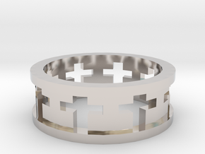 Cross Ring in Rhodium Plated Brass