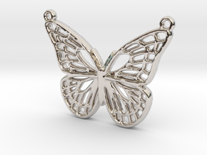 The butterfly in Rhodium Plated Brass
