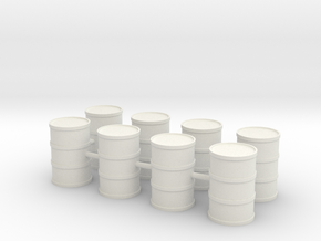 Round Oil Barrel Game Piece Set (8 Barrels) in White Natural Versatile Plastic