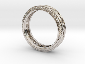 Antique scroll band size 8 in Platinum