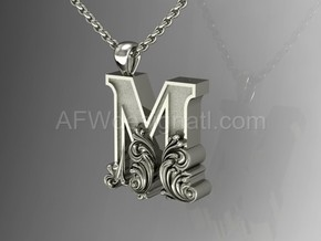 Scroll Letter M – Initial Letter Pendant in Fine Detail Polished Silver