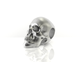Human Skull Pendant in Polished Bronzed Silver Steel