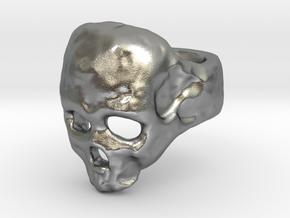 Skull Ring in Natural Silver