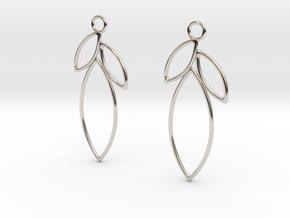 Open Leaf Earrings in Rhodium Plated Brass