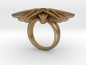 Starburst Statement Ring in Polished Gold Steel: 6 / 51.5