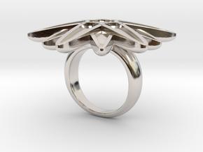 Starburst Statement Ring in Rhodium Plated Brass: 6 / 51.5